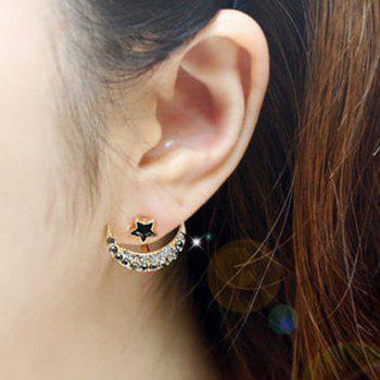 Moon Star Rhinestone Stud Earrings