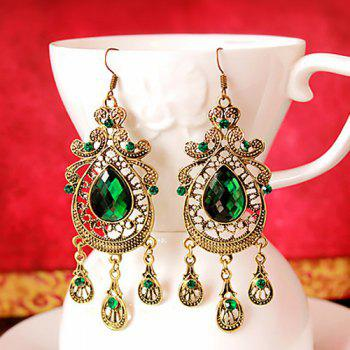 Faux Crystal Teardrop Drop Earrings -  GREEN
