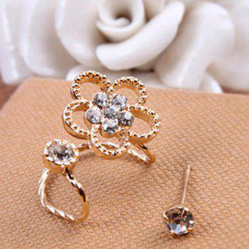 Rhinestone Floral 2PCS Earrings Set
