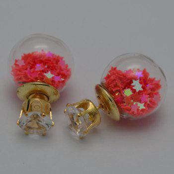 Transparency Ball Star Stud Earrings - DEEP RED
