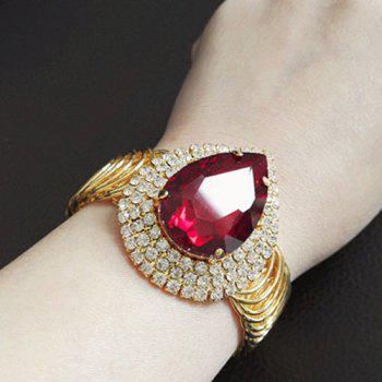 Rhinestone Waterdrop Faux Ruby Plated Bracelet