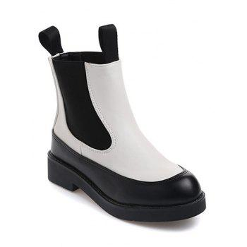 PU Leather Platform Elastic Band Ankle Boots
