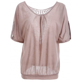 Scoop Neck Hollow Out  Batwing Sleeve T-Shirt
