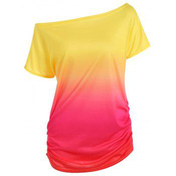 Short Sleeve Ombre Slimming T-Shirt