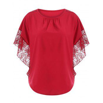Loose Lace Splice Hollow Out Blouse