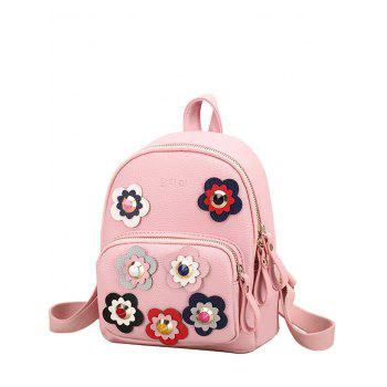 Rivets Color Block Flowers Backpack