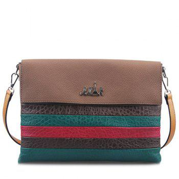 Textured Leather Colour Block Striped Pattern Crossbody Bag