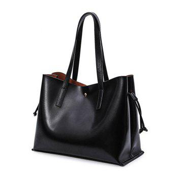 Magnetic Closure PU Leather Drawstring Shoulder Bag