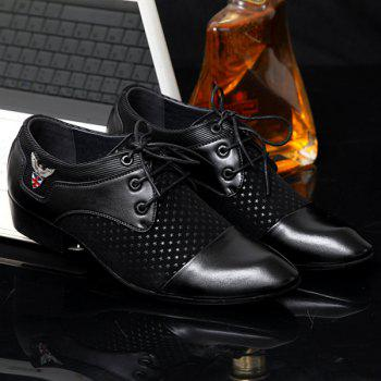 Metal Tie Up Splicing Formal Shoes - BLACK BLACK