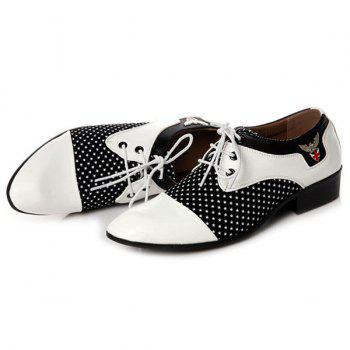 Métal Tie Up épissage Formal Shoes - Blanc et Noir 41