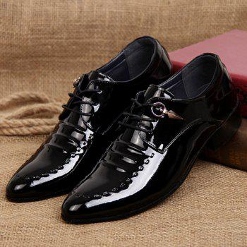 Lace Up Metal Patent Leather Formal Shoes - BLACK 43