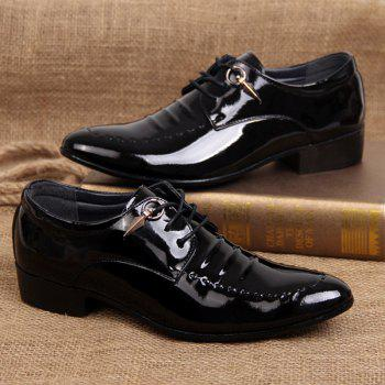 Lace Up Metal Patent Leather Formal Shoes - 43 43
