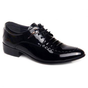 Lace Up Metal Patent Leather Formal Shoes