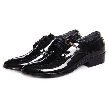 Lace Up Metal Patent Leather Formal Shoes - BLACK BLACK