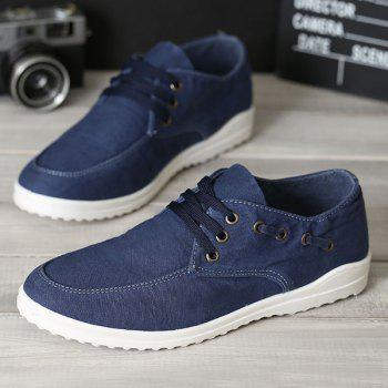 Eyelets Lace Up Dark Color Canvas Shoes - 42 42