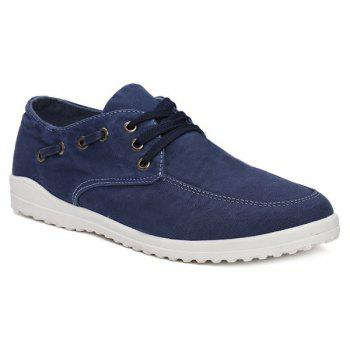 Eyelets Lace Up Dark Color Canvas Shoes - DEEP BLUE 42