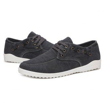 Eyelets Lace Up Dark Color Canvas Shoes - DEEP GRAY 40