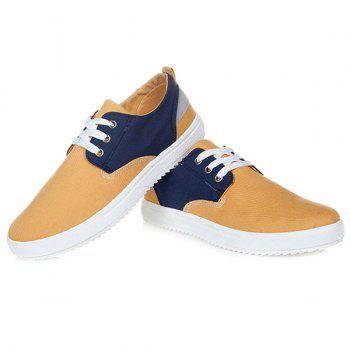 Colour Splicing Tie Up Canvas Shoes - EARTHY 42