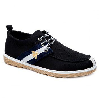 Buy Color Splicing Lace-Up Striped Pattern Canvas Shoes BLACK