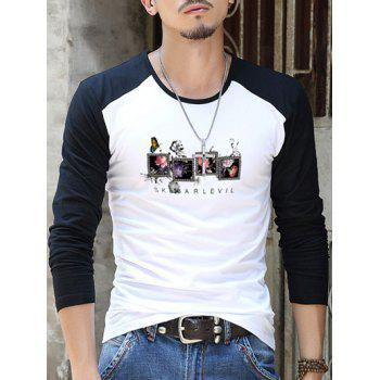 Round Neck Printed Contrast Sleeve T-Shirt