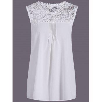Openwork Lace Spliced Shirred Tank Top - WHITE WHITE