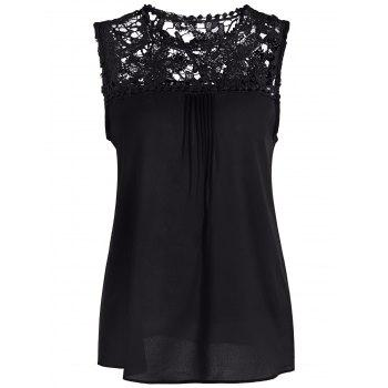 Openwork Lace Spliced Shirred Tank Top