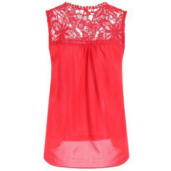 Openwork Lace Spliced Shirred Tank Top - RED RED