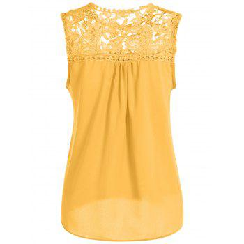 Openwork Lace Spliced Shirred Tank Top - YELLOW YELLOW