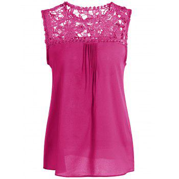 Openwork Lace Spliced Shirred Tank Top - ROSE RED ROSE RED