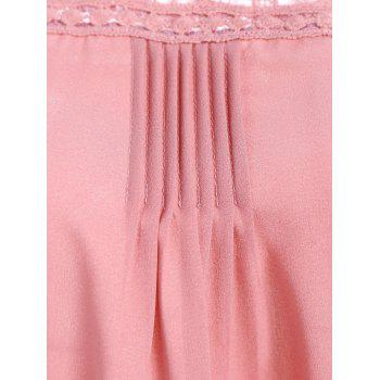 Openwork Lace Spliced Shirred Tank Top - PINK PINK