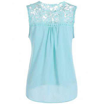 Openwork Lace Spliced Shirred Tank Top - LIGHT BLUE LIGHT BLUE
