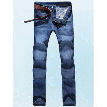 Straight Leg Five-Pocket Zipper Fly Label Jeans