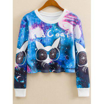 Crew Neck Cartoon Cat Print Sweatshirt