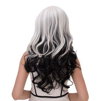 Ombre Long Inclined Bang Wavy Synthetic Lolita Wig - WHITE/BLACK