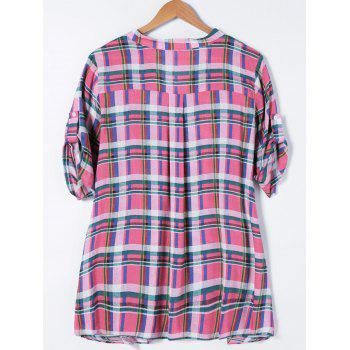 Plus Size Adjustable Sleeve Plaid Smock Blouse - 3XL 3XL