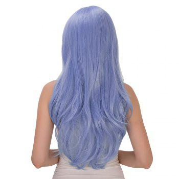 Inclined Bang Long Wavy Tail Adduction Lolita Synthetic Wig - ICE BLUE