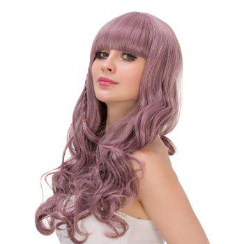 Long Neat Bang Fluffy Wavy Synthetic Lolita Wig - PALE PINKISH GREY