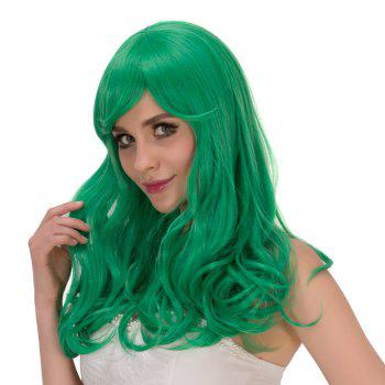 Long Wavy Fluffy Oblique Bang Synthetic Lolita Wig - CRYSTAL GREEN