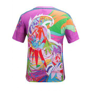 Round Neck Short Sleeve 3D Color Block Scrawl Print T-Shirt - COLORMIX M