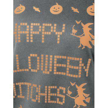 Skew Neck Witches Print Halloween Sweatshirt - GRAY GRAY