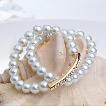Artificial Pearl Rhinestone Beaded Bracelet Set