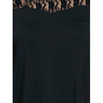 Plus Size Lace Patchwork T-Shirt - BLACK BLACK