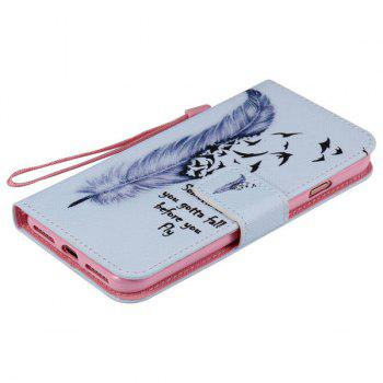 Feather Quote Pattern Wallet Phone Case For iPhone 7 -  LIGHT BLUE