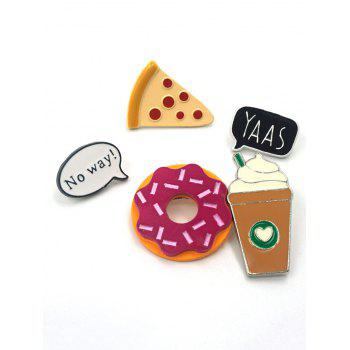 Cookie Ice Cream Dessert Alloy Brooch Set