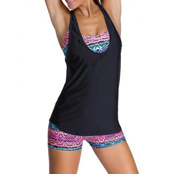 Tribal Print Criss-Cross Wire Free Three Piece Swimwear