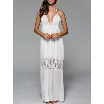 Halter Backless Lace Spliced Maxi Dress