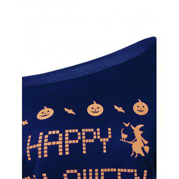 Skew Neck Witches Print Halloween Sweatshirt - BLUE BLUE