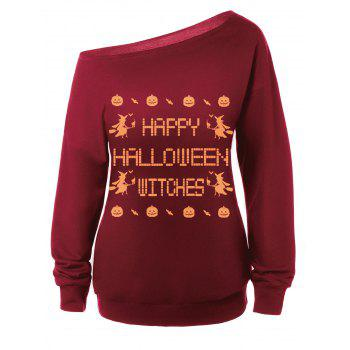 Skew Neck Witches Print Halloween Sweatshirt - RED RED