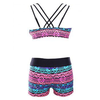 Tribal Print Criss-Cross Wire Free Three Piece Swimsuit - PINK PINK
