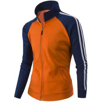 Stand Collar Raglan Sleeve Zipper-Up Striped Jacket - ORANGE XL